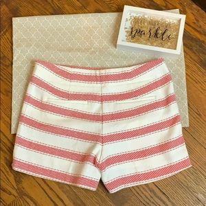 LOFT Shorts - Red and white striped high waisted shorts